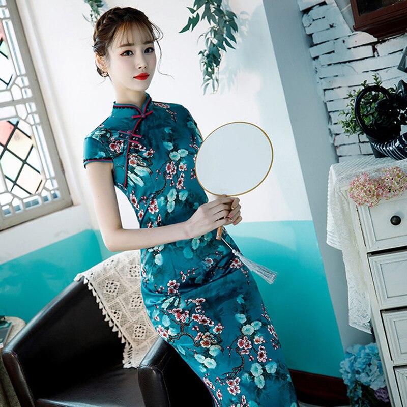 Plus Size Girl Cheongsam Women Vestidos Long Elegant Cheongsam Skirt Girl Daily Chinese Cheongsam Dress Cosplay Catwalk Dress