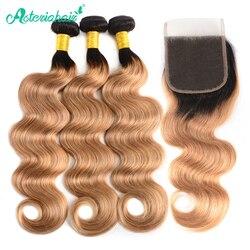 Extensiones de cabello humano brasileño ondulado con cierre, 3 mechones, 1B/27, Remy Asteria