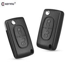 Keyyou 2 Knoppen Flip Folding Key Case Blanco Shell Voor Peugeot 107 207 307 307S 308 3008 407 607 2BT