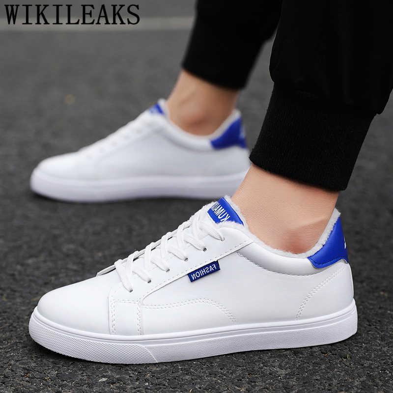 カジュアルシューズメンズホワイトスニーカー革の靴メンズ冬のスニーカー冬の靴男性革スニーカー Zapatos デやつ Bota Ş