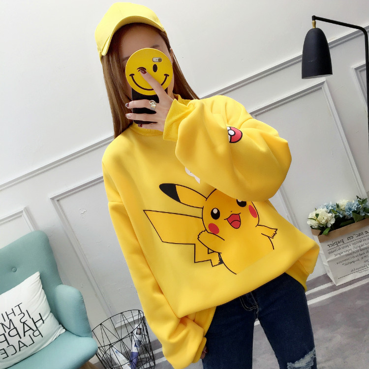 Women Kpop Sweatshirt Autumn Winter Fleece Hoodies Yellow Kawaii Pikachu Printed Pokemon Harajuku Korean Clothes Pullover