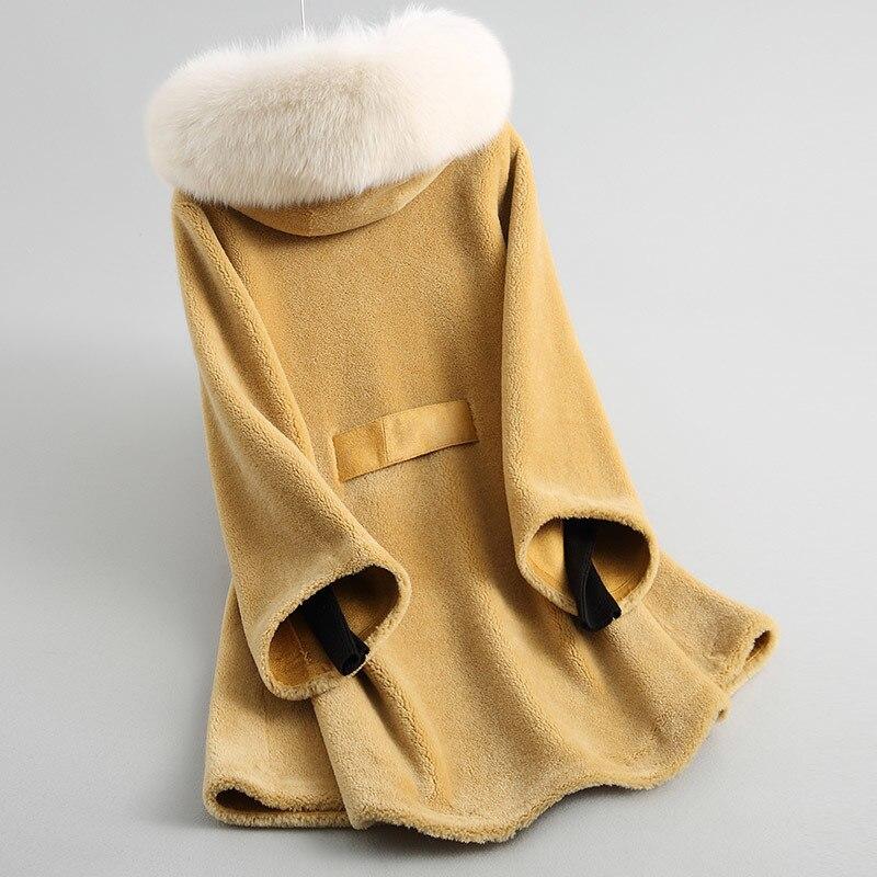 Sheep Shearing Coats Real Fur Women Clothes 2020 Autumn Winter Wool Jackets Fox Fur Hooded Long Overcoat Jacket LWL1274
