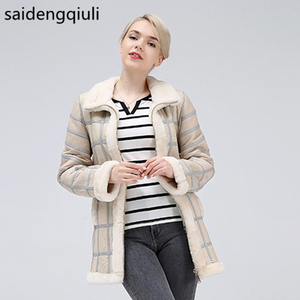 Image 1 - 2019 Real Sheep Shearing Autumn Winter Womens Tops Warm Leather Coat Women Vest New Fashion Sheepskin Sweater Vest Coat