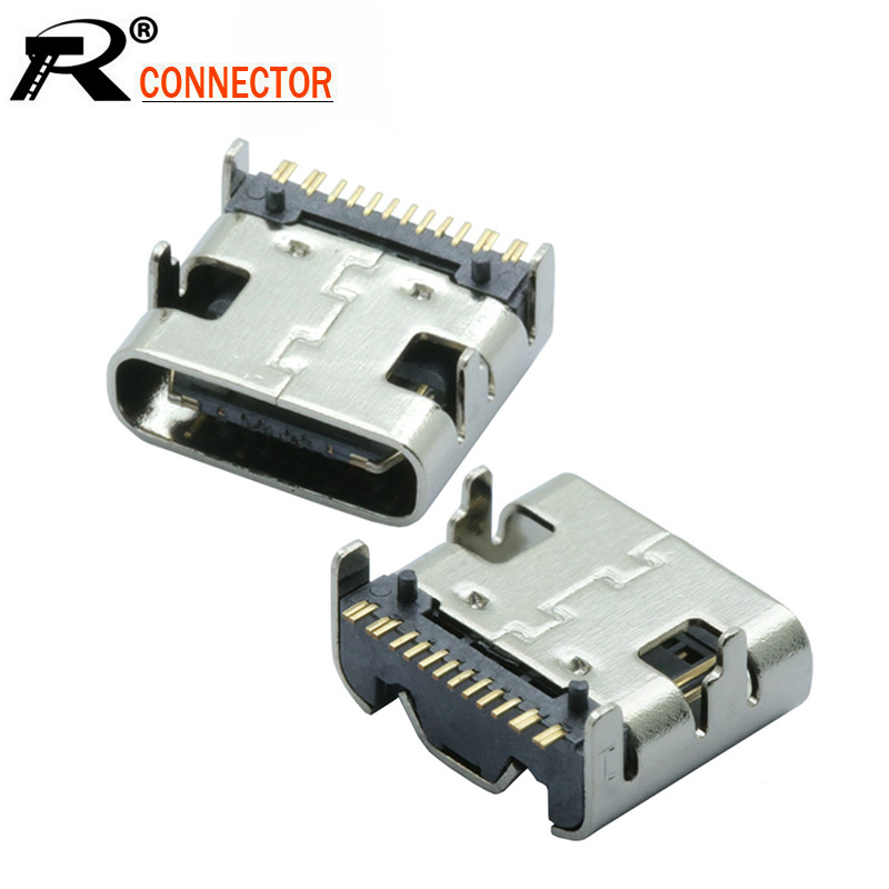 10pcs/lot Type C 16 Pin SMT Socket Connector USB 3.1 Type-C Female Placement SMD DIP For PCB Design DIY High Current Charging