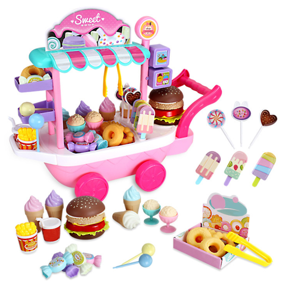 36 Pcs Educational Non Toxic Mini Candy Cart Toy Set Ice Cream Pretend Game Plastic Simulation Funny House Play DIY Children
