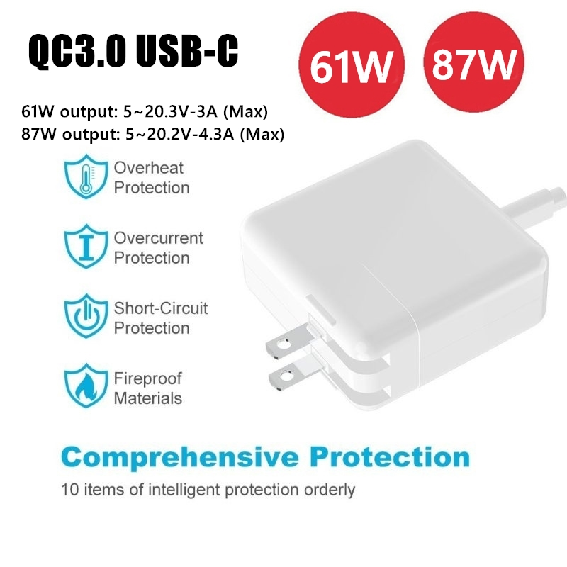 100 240V TYPE C USB C Charge Power Adapter 61W 87W PD2 0 QC3 0 Fast