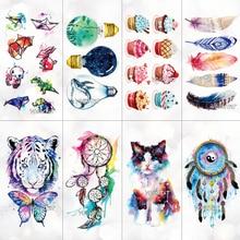 Temporary-Tattoo Tattoo-Stickers Watercolor Tatoos Cartoon-Design Kids Women Girl Cute