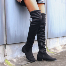 Shoes Female Knee-Boots Thick Heel Suede Round-Toe Thigh Black Fashion Women Ladies Over