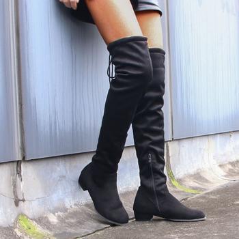 Sexy Over buty do kolan 2021 kobiet długie buty zamszowe damskie buty na słupku z paskiem buty kobiece moda czarne kozaki za udo tanie i dobre opinie LZXGSJ CN (pochodzenie) Flock Over-the-knee zipper Stałe women boots Plac heel Podstawowe Krótki pluszowe Okrągły nosek