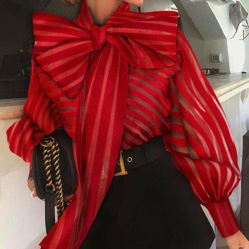Office Lady Bow Tie Blouse Shirts Women Autumn Dot Print Lantern Sleeves Blusa Tops Elegant Srping Autumn Sweet Blouses Tops