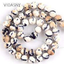 Natural Black Creamy White Spotted Rain Flower Stone Beads For Jewelry Making 4-12mm Round Diy Bracelet Necklace 15