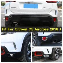 Lapetus Front Rear Fog Lights Cover Trim Bumper Lamps Molding Decoration Accessories ABS Fit For Citroen C5 Aircross 2018 - 2021