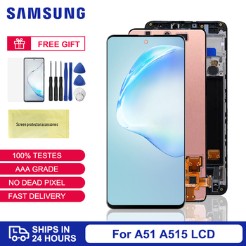Super Amoled Screen For Samsung Galaxy A51 LCD Display With Frame Touch Screen For Samsung A51 A515 Display Screen A515F A515FD фото