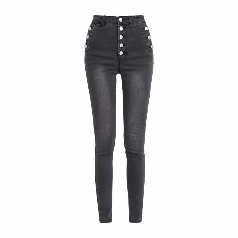 Autumn And Winter New Street Fashion High Waist Button Plus Velvet Jeans Female, Elastic Slimming Wild Warm Feet Jeans Women
