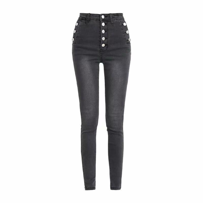 Spring And Autumn New Street Fashion High Waist Button Plus Velvet Jeans Female, Elastic Slimming Wild Warm Feet Jeans Women