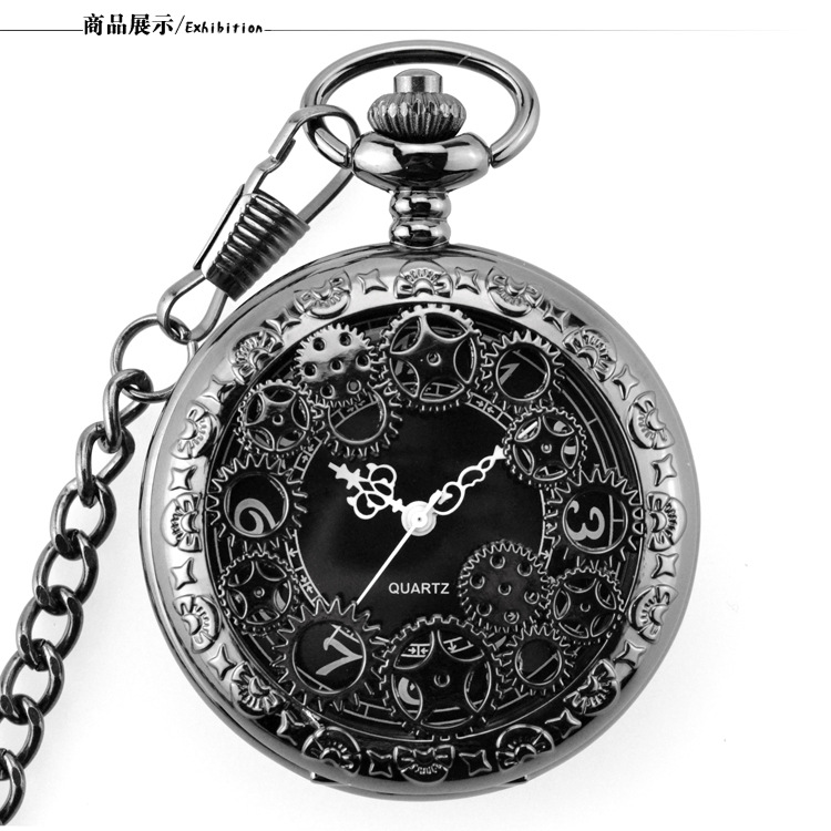 Retro Black Fashion Hollow Gear Steampunk Quartz Pocket Watch Stainless Steel Pendant For Men Women