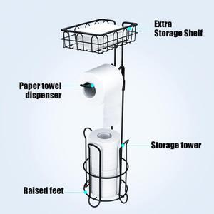Image 3 - 金属床立ち紙ロールタオルホルダーオーガナイザースタンドトイレットペーパーラック浴室ハードウェア垂直収納バスケット黒