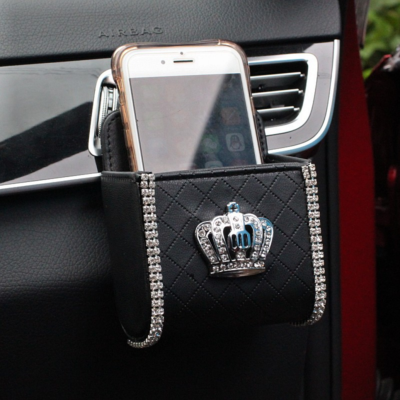 Diamond-Crystal-PU-Leather-Car-Outlet-Air-Vent-Trash-Box-Auto-Mobile-Phone-Holder-Bag-Pouch-Organizer-Hanging-Box-311