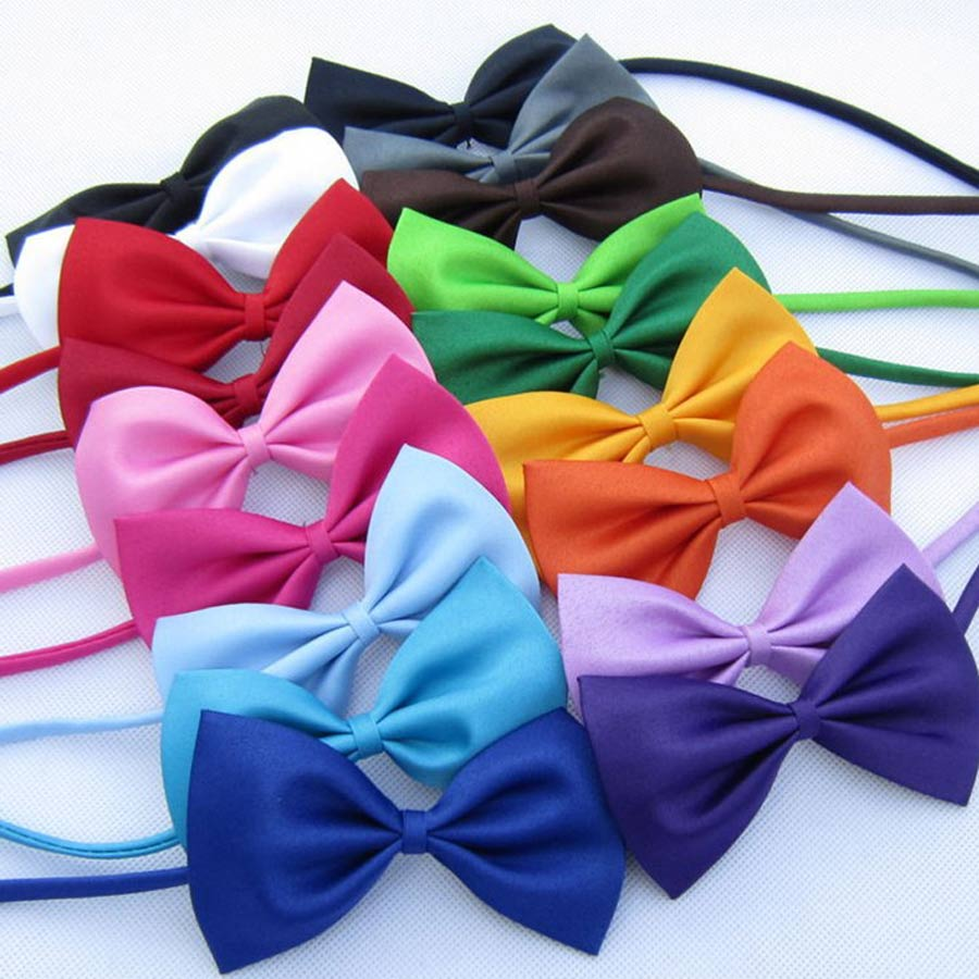 2 PCS/LOT Hot Children's Polyester Bow Ties Adjustable Boy Girl Student Baby Bowtie Solid Butterflies Vintage Tuxedo For Party