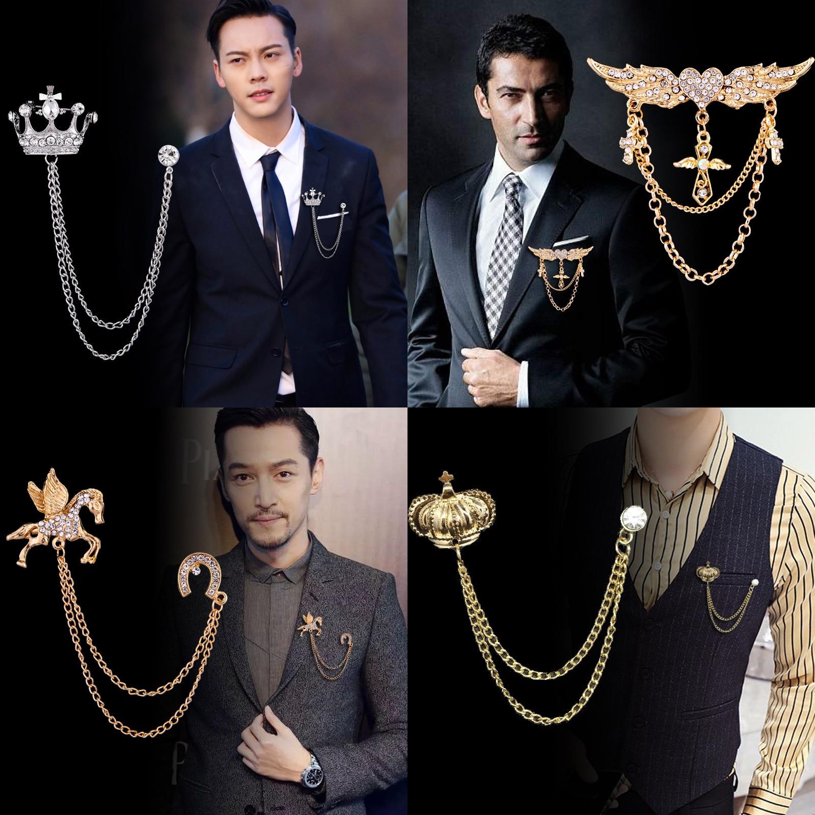 Korean British Style Crown Bird Brooch Cross Suit Tassel Chain Lapel Pin Angle Wings Badge Retro Female Corsage Men Accessories 1