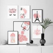 Розовый цветок духи модный постер ресницы Губы Макияж Печать