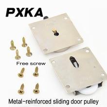 Free shipping2pcs metal weighted bearing wheel cabinet sliding door wheel door wheel furniture sliding door wheel