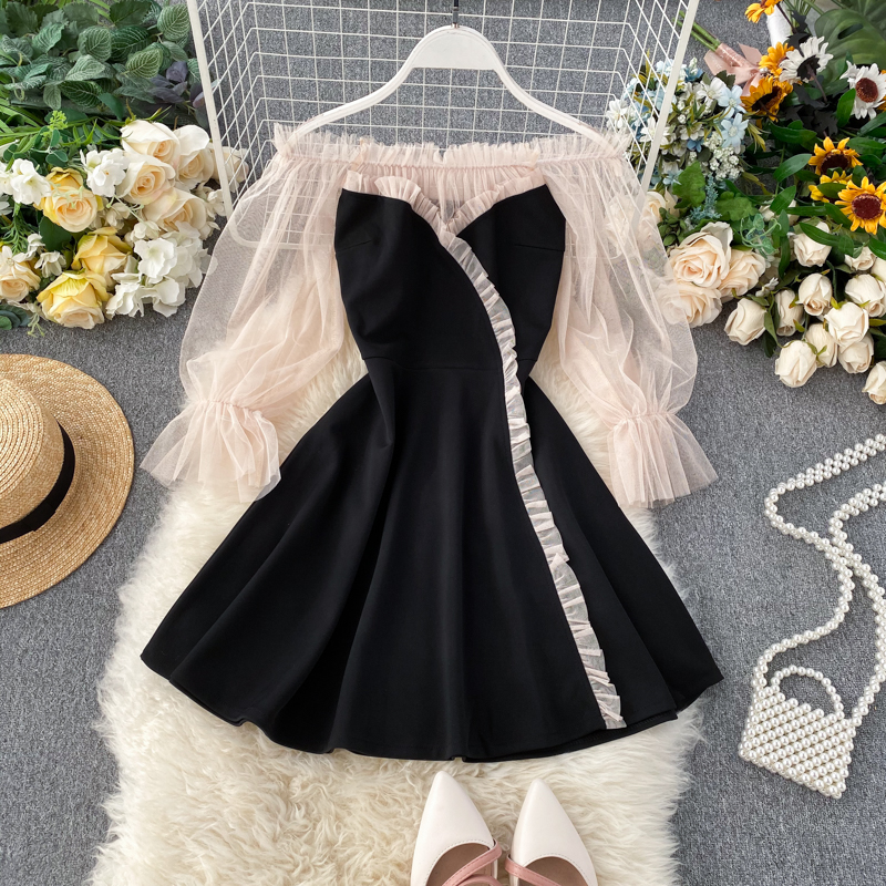Spring Autumn 2020 New Popular Dress Temperament Word Shoulder Mesh Puff Sleeve Patchwork Short Dress Women A-line Dress ML728