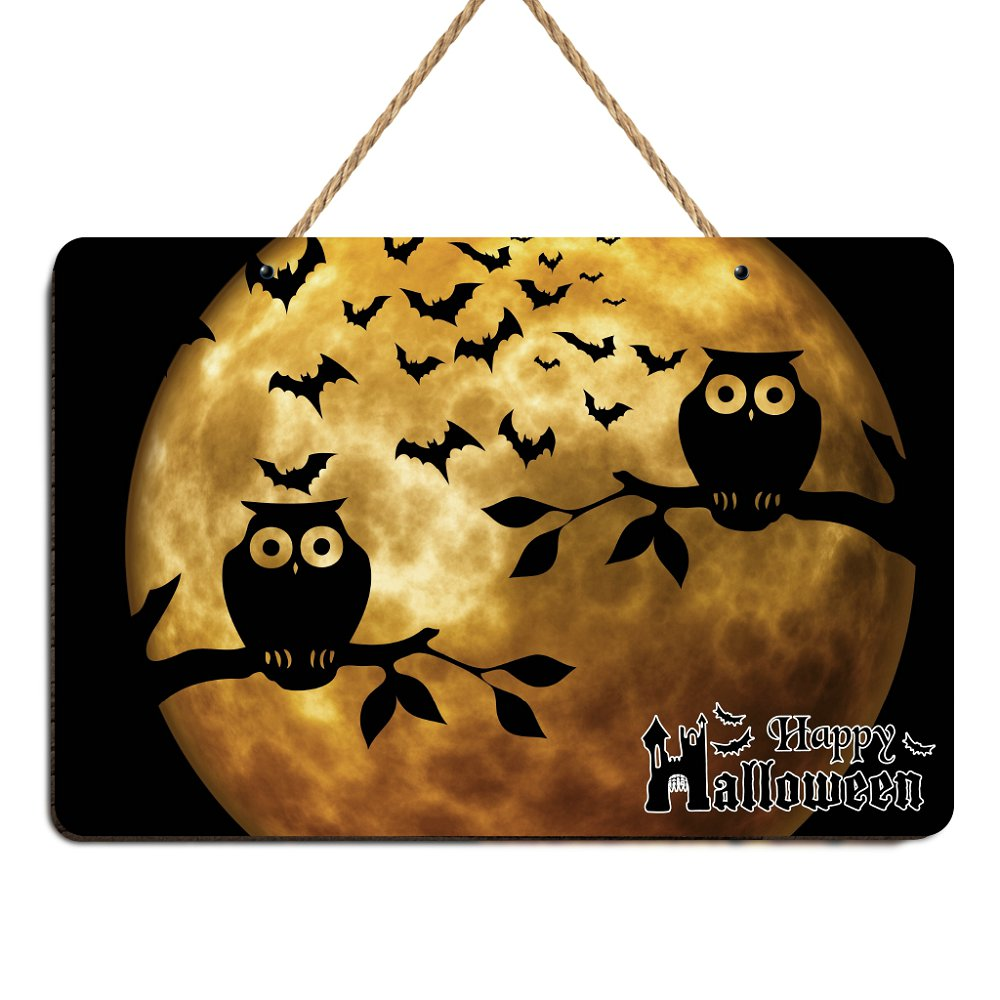 Wooden Happy Halloween Owl Sign Halloween Farmhouse Wood Front Door Wall Art Decor Poster Vintage House Bar Coffee Retro Signs image