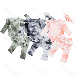 Newborn Baby Boys Girls Clothes Tie Dye Print Long Sleeve Romper+Layered Long Pants Headband Toddler Infant Ribbed Outfits Sets(China)