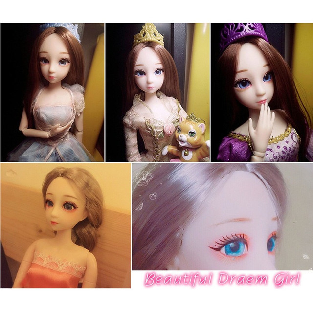BJD Doll 30cm 20 Movable Jointe Dolls 3D Eyes Bjd Plastic Doll for Girls Toys Long Wig Female Nude Body Fashion Christmas Gift 6