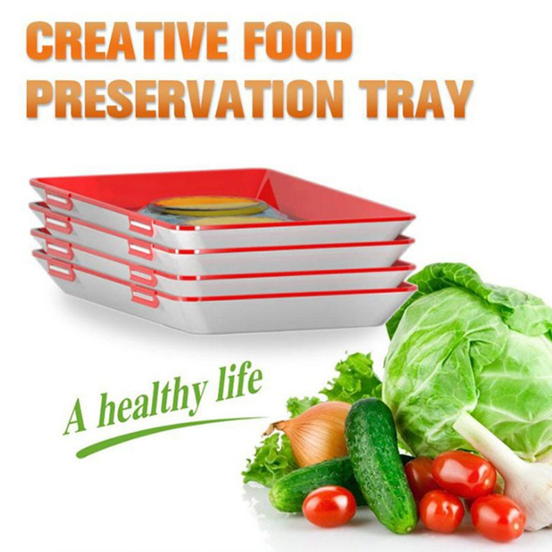 Creative Food Preservation Tray Kitchen Accessories Meat Fresh Handy Food Tray Clever Tray Creative Food Plastic Preservation in Storage Trays from Home Garden