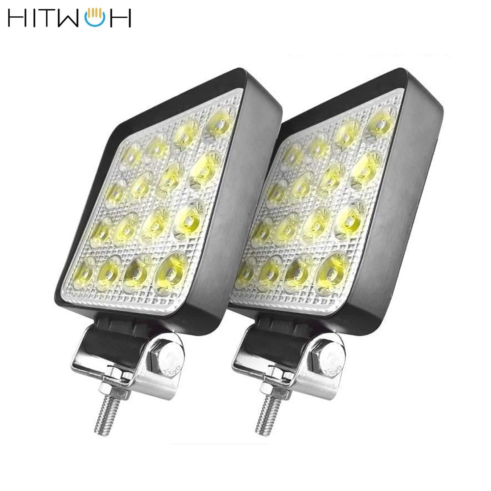 2 pièces 4X4 48W 6400Lm LED barre lumineuse de travail hors route ampoule lampe lumière brouillard éclairage extérieur pour cabine bateau SUV camion faisceau lumineux