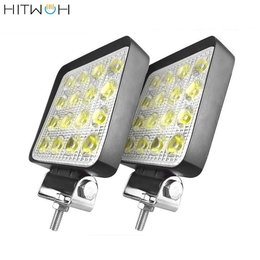 2PCS 4X4 48W 6400Lm LED Work Light Bar Off-road Bulb Lamp Light Fog Lighting Exterior For Cabin Boat SUV Truck Flood Beam Light