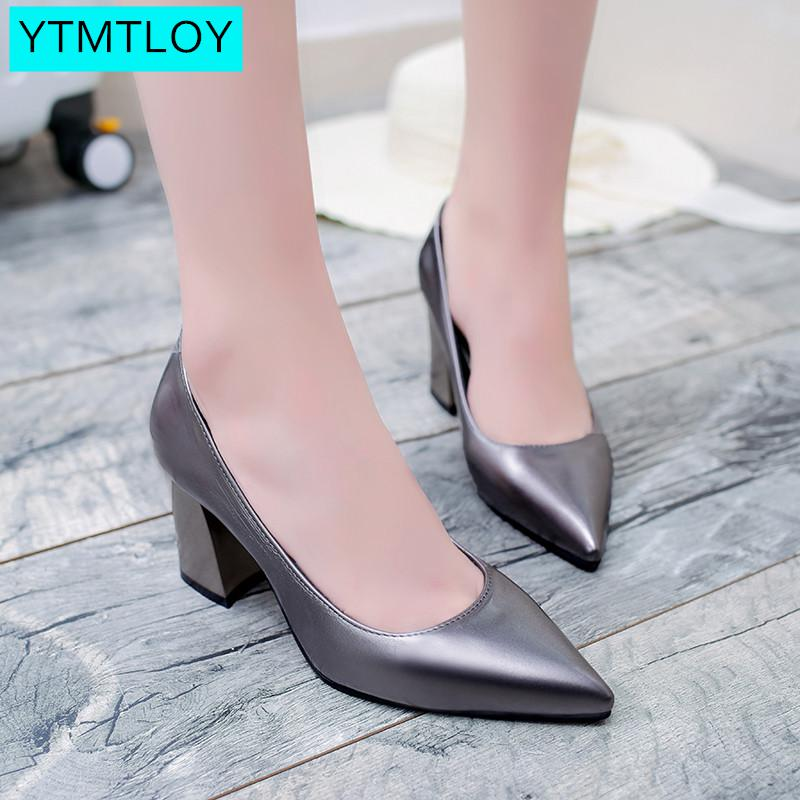 2019  Women Shoes Pointed Toe Pumps  Red Gold Silver Blue Black 7CM High Heels Boat Shoes Wedding Shoes  Shallow Sexy Fashion