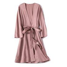Saten elbise kadın samimi iç çamaşırı pijama İpeksi gelin düğün hediyesi rahat Kimono bornoz elbise gecelik seksi kıyafeti