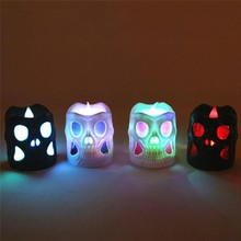 Halloween Creative Candlelight LED Skull Night Lamp Skull Flameless Candle Operating Light Battery Halloween Party Decorative Shape Skull Candlelight Halloween Party Decorative Horror Skull Candlelight Bar Decoration