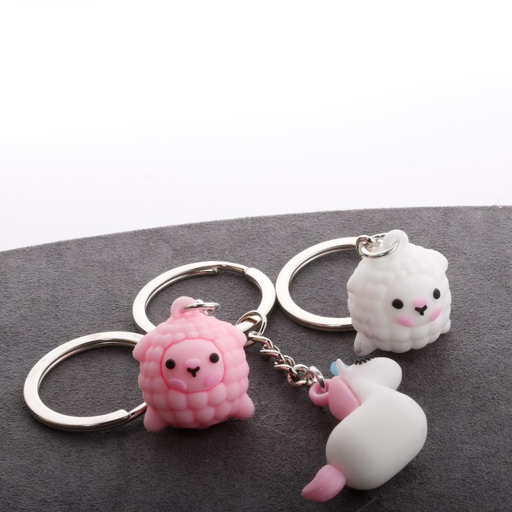 Cartoon Doll Keychain Cute Alpaca Unicorn Soft Rubber Key Pendant Creative Craft Gift