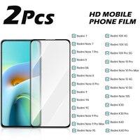 2PCS Schutz Glas Für Xiaomi Redmi 7 8 8A 9 9A 9C Gehärtetem Glas Hinweis 9S 10 Pro max K30 K40 10X 10S 4G 5G Screen Protector