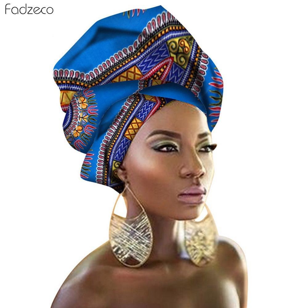 Fadzeco Dashiki Women African Head Wrap African Traditional Fashion Wax Printed Ankara Cotton Headscarf African Wrap Turban Hat