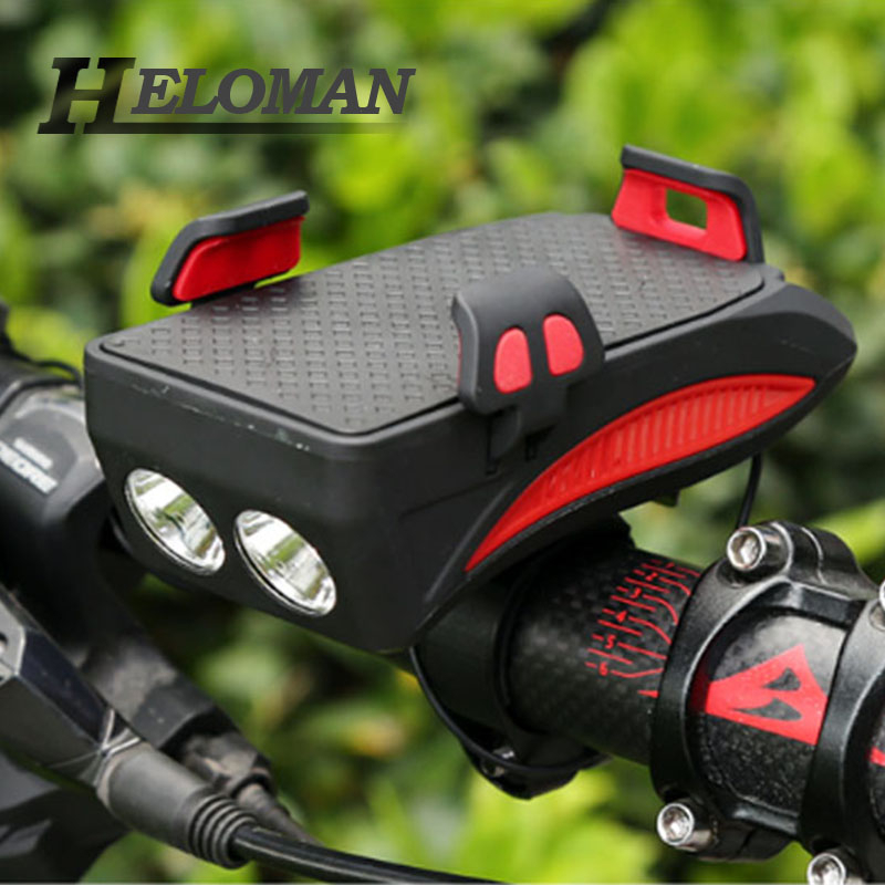 Heloman Multi-function <font><b>Bike</b></font> Light Front <font><b>with</b></font> Horn Bell <font><b>Phone</b></font> <font><b>Holder</b></font> Bracket <font><b>Power</b></font> <font><b>Bank</b></font> 4 in 1 Bicycle Headlight USB Rechargeable image