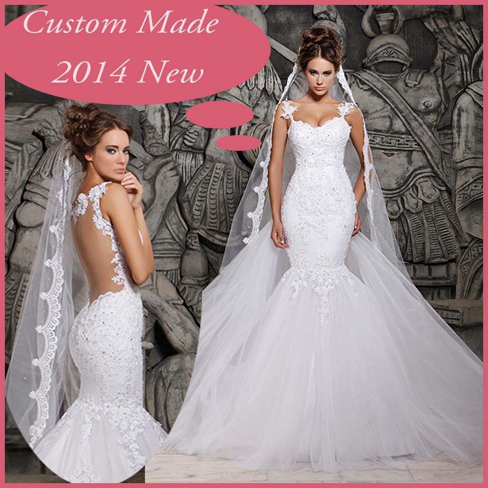 2016 Designers White Lace And See Through Mermaid Wedding Dresses With Removable Train Bridal Dresses Tulle VZ-11
