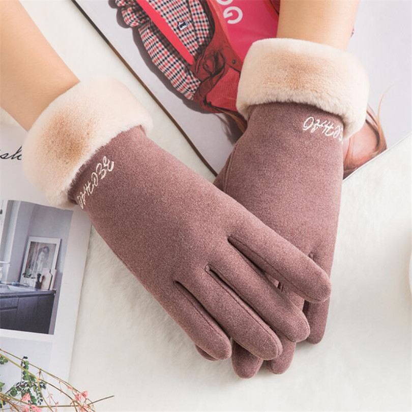 CHSDCSI Touched Screen Mittens Winter Female Wrist Warm Fur Cashmere Full Finger Mittens Women Suede Leather Driving Ski Gloves