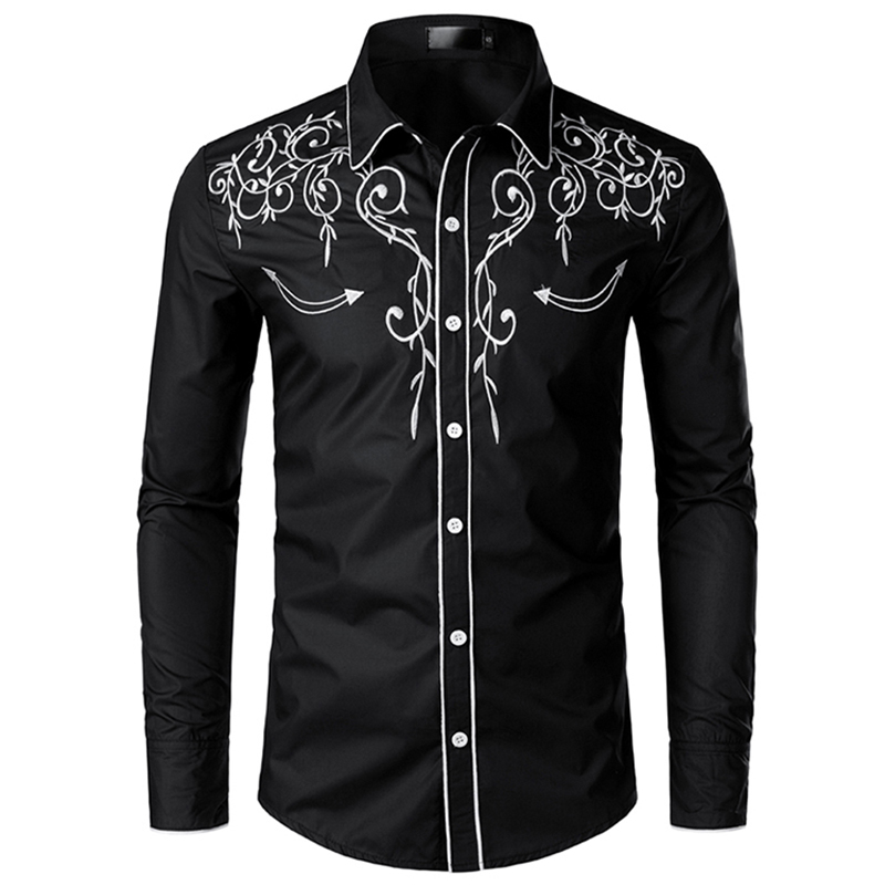 2019 Men's Fashion Western Denim Shirt Men's Design Embroidered Slim Long Sleeve Shirt Men's Wedding Party Casual Shirt Men