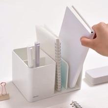 New Arrival ABS 2 in 1 Desktop Organizer Bookends Pen Holder Desk Storage Box Kawaii School Stationery