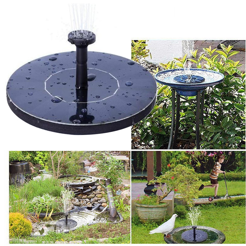New Round Solar Fountain Floating Bird Bath Water Fountain Fontaine For Garden Decoration Solar Fonteine Pool Pond Waterfall
