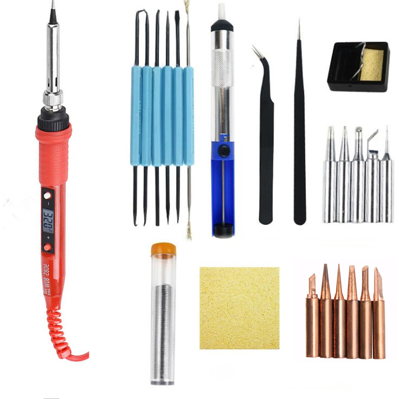 220V 80W  LCD Soldering Iron Kit Adjustable Temperature Solder Welding Tools Ceramic Heater With Soldering Tips Desoldering Pump