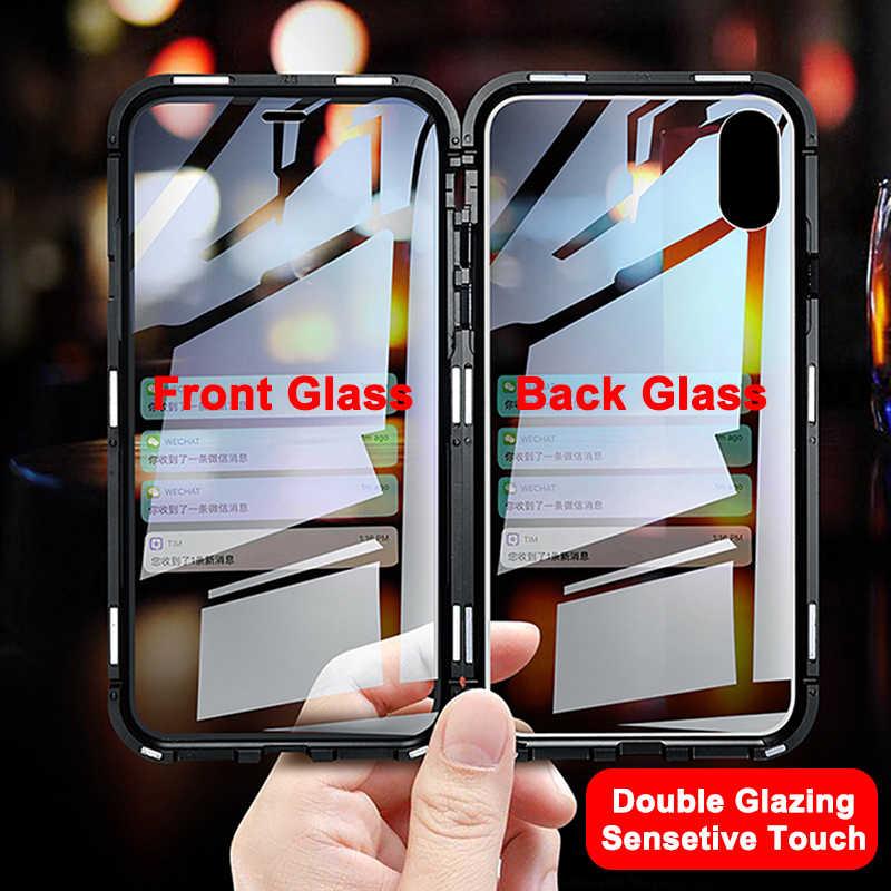 Manyetik adsorpsiyon Metal kasa iPhone SE 11 Pro XS Max XR çift taraflı cam mıknatıs kılıf iPhone 7 8 6 6s artı X XR kapak