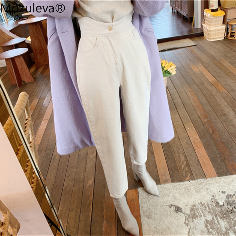 Mozuleva Women Wide Leg Jeans Pants 2020 Spring Casual High Waist Loose White Denim Jeans Female Buttons Trousers Street Style