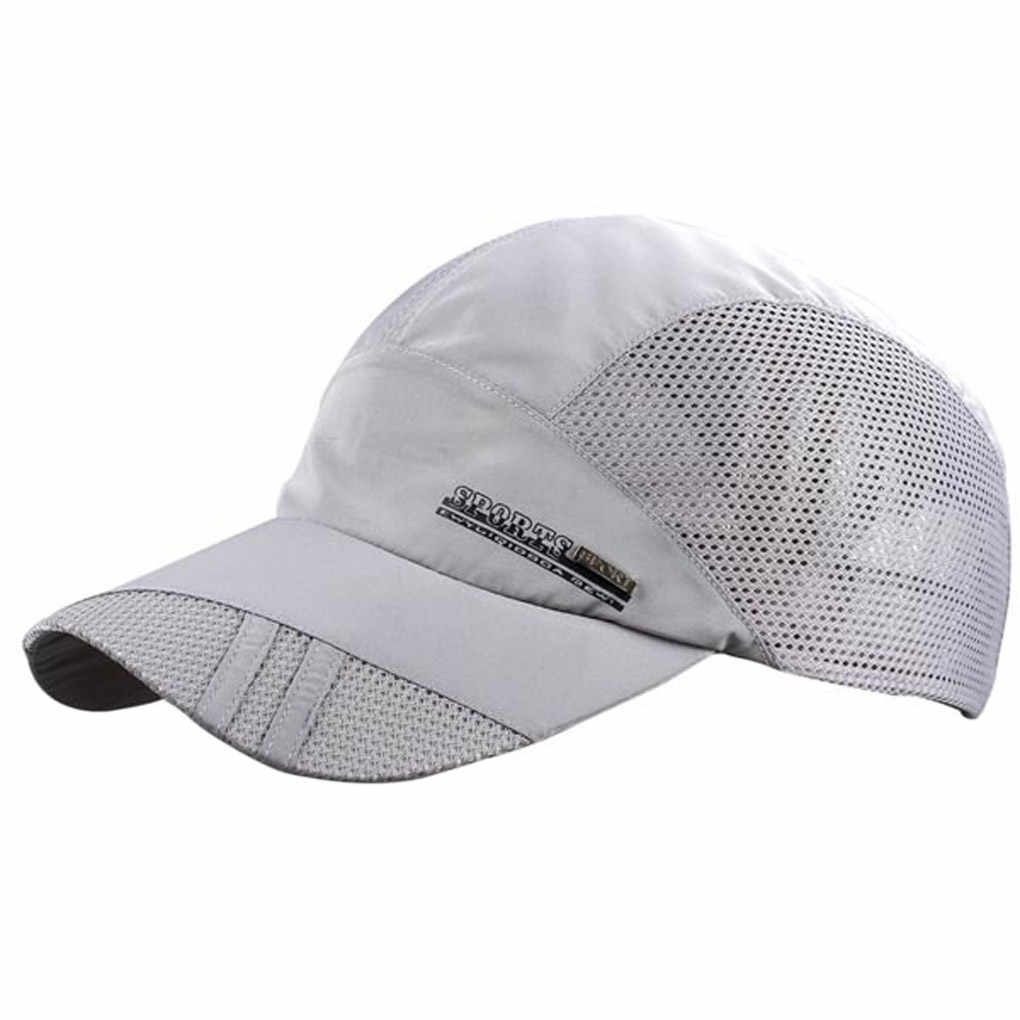 Outdoor Sun Hat letnia oddychająca siatkowa czapka z daszkiem szybkoschnący czapki dla mężczyzn niebieski szary czarny regulowane czapki sportowe