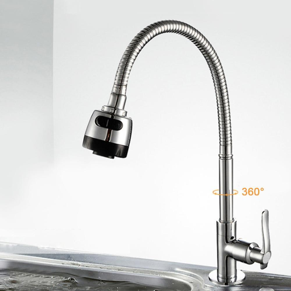 360 Degree Rotation Kitchen Water Tap G1/2in Universal Bendable Home Kitchen Single Cold Water Tap Kitchen Sink Water Faucet